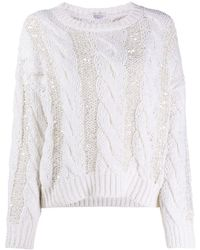 Brunello Cucinelli Sequined Cable-knit Sweater - White