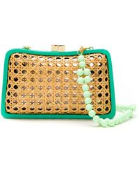 Serpui Straw And Wood Clutch - Multicolor