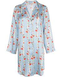 Morgan Lane Jillian Stripe & Floral Print Nightshirt - Blue