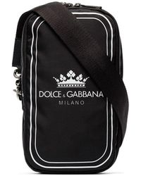 Dolce & Gabbana Black And White Crown Logo Print Cross-body Bag - Zwart