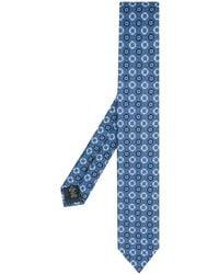 Ermenegildo Zegna Seidenkrawatte mit geometrischem Print - Blau