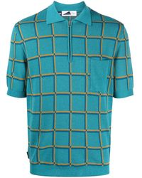 Anglozine Check-print Short-sleeved Polo Shirt - Blue