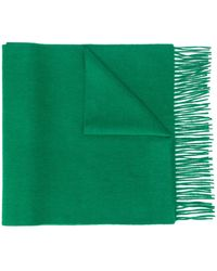 N.Peal Cashmere Knitted Fringed Scarf - Green