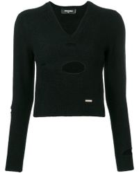 DSquared² - Ripped Appliqué V-neck Sweater - Lyst