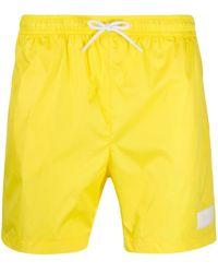 Dondup Logo Patch Swim Shorts - Yellow