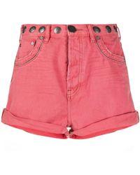 One Teaspoon Pantalones vaqueros cortos con apliques - Rosa