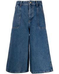 Ba&sh Flared Denim Culottes - Blue