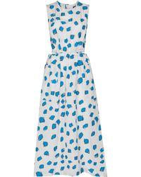 Issey Miyake Tablecloth ノースリーブ ドレス - ブルー