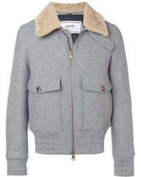 AMI Shearling-trimmed Aviator Jacket - Grey