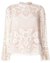 Needle & Thread Ruffled Neck Floral Lace Blouse - Pink