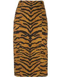 Adam Lippes Tiger-print Split-hem Pencil Skirt - Brown