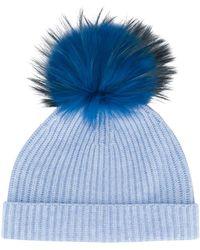 N.Peal Cashmere Detachable Pompom Hat - Blue