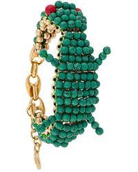 Lanvin Beaded Crocodile Bracelet - Green
