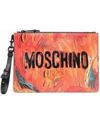 Moschino ロゴ クラッチバッグ - オレンジ