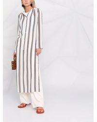 Gentry Portofino Stripe-pattern Long-sleeve Dress - White