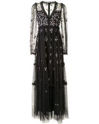 Needle & Thread Sequin Floral Embellished Tulle Dress - Black