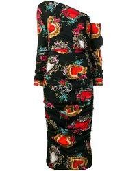Dolce & Gabbana Heart Print Midi Dress - Black