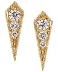 Lizzie Mandler 18kt Gold 'kite' Diamond Stud Earrings - Metallic