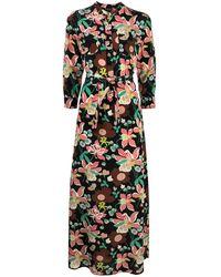 Aspesi Floral Print Maxi Silk Dress - Black