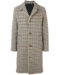 AMI Houndstooth Patterned Single-breasted Coat - Multicolour