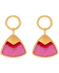 Katerina Makriyianni 24k Gold-plated Silk Triangle Earrings - Pink