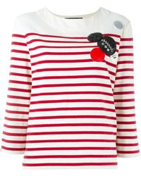 Marc By Marc Jacobs Gestreiftes Langarmshirt mit Patches - Rot