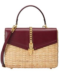 Gucci - Sylvie Wicker And Leather Top-handle Bag - Lyst