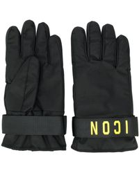 DSquared² Icon Print Gloves - Black