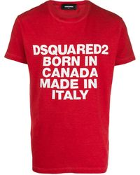 DSquared² Motto Print T-shirt - Red