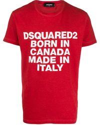 DSquared² T-Shirt mit Slogan-Print - Rot