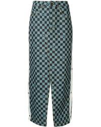 Andrea Crews Snap long check denim skirt - Bleu