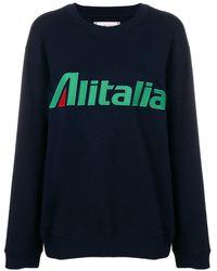 Alberta Ferretti Sudadera con parche Alitalia - Azul