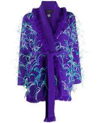 Alanui Feather-embellished Frayed Cardigan - Purple