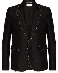 Saint Laurent Embellished-trim Floral-jacquard Blazer - Black