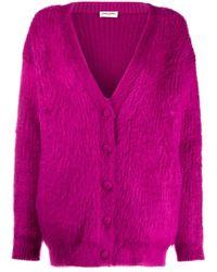 Saint Laurent Кардиган С V-образным Вырезом - Пурпурный