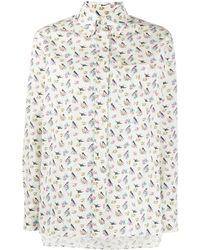 Prada - Camicia oversize a fiori - Lyst