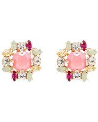 Anton Heunis Crystal Cluster Earrings - Pink