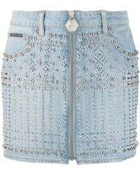 Philipp Plein Studded Mini Skirt - Blue