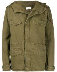 Saint Laurent Logo-patch Military Jacket - Green