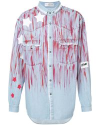 Faith Connexion - Star Paint Smudged Denim Shirt - Lyst