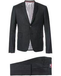 Thom Browne High Armhole Suit With Tie And Low Rise Skinny Trouser In Super 120�s Twill - Grijs
