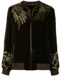 P.A.R.O.S.H. Dragon Embellished Bomber Jacket - Зеленый