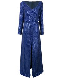 Nina Ricci Sequin Stripes Metallic Dress - Blue