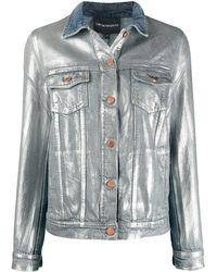 Emporio Armani Metallic Denim Jacket - Blue