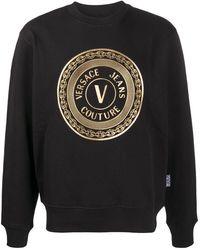 Versace Jeans Couture メタリック ロゴ プルオーバー - ブラック