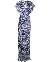Prabal Gurung Zweifarbige Robe mit Knotendetail - Blau