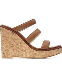 Jimmy Choo - Athenia 110 Leather Wedge Sandals - Lyst