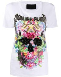 Philipp Plein - Floral Skull T-shirt - Lyst