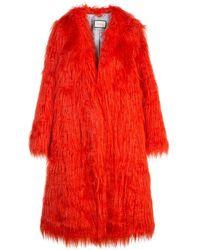 Gucci Abrigo de pelo artificial - Rojo
