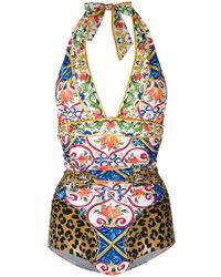 Dolce & Gabbana | Majolica Leopard Print Swimsuit | Lyst
